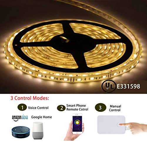 Smart Led Light Strip, CXY Led Light Strip Kit 5050 Waterproof IP65 LED  Lights, Dimmable and Color Change, Working with Android and iOS System and