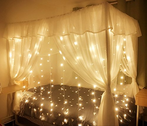 MZD8391 Curtain String Lights, 9.8 X 9.8ft 304 LED Starry Fairy Lights For  Wedding, Bedroom, Bed Canopy, Garden, Patio, Outdoor Indoor (Warm White)  For ...