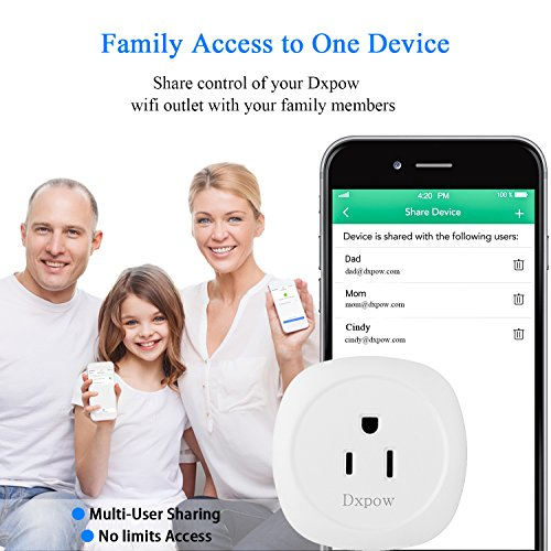 Switch On//Off 1 Pack Timing Function Mini Wireless WiFi Smart Plug Socket Dxpow Smart Plug Outlet No Hub Required Compatible with Alexa Remote Control By Smartphone from Anywhere Anytime