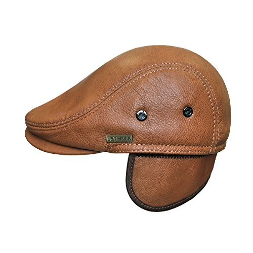 577467ad90f9da LETHMIK Flat Cap Cabby Hat Genuine Leather Vintage Newsboy Cap Ivy Driving  Cap L-Orange for $34.95 Free Shipping from Amazon LETHMIK Store - PromoPure