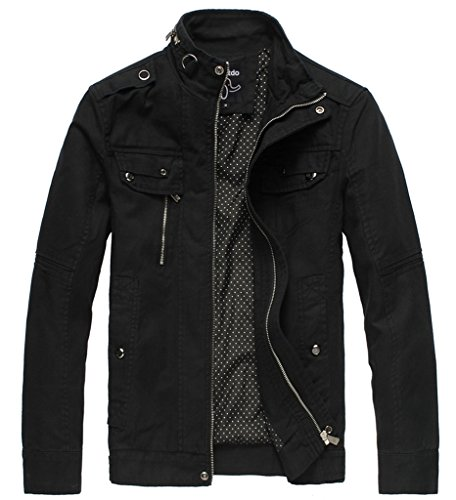 4086d5440 Wantdo Men's Cotton Stand Collar Lightweight Front Zip Jacket Black,US XL  for $50.99 Free Shipping from Amazon Wantdo Store - PromoPure