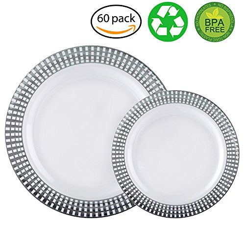 60pcs heavyweight white with silver rim wedding party plastic plates disposable dinnerware sets. Black Bedroom Furniture Sets. Home Design Ideas
