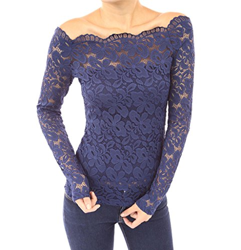 d303a1875cae3 FANTIGO Women s Floral Lace Off Shoulder Top Long Sleeve Blouse Blue S for   7.50 from Amazon FANTIGO Store - PromoPure