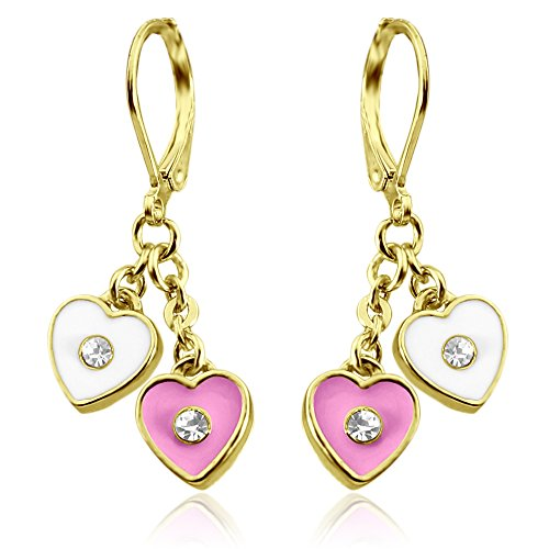 Double Heart Hoop Earrings For S Nickel Free Little With Dangle Hearts 18k Gold Plated Leverback Hypoallergenic