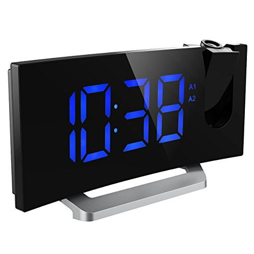 mpow projection clock fm radio alarm clock curved screen digital alarm clock 5 39 led display. Black Bedroom Furniture Sets. Home Design Ideas