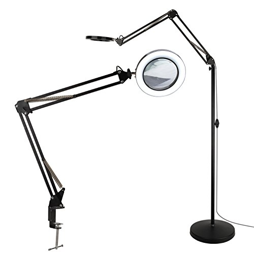 Tomsoo 3 In 1 Magnifying Glass Floor Lamp With Clamp White Warm White Lighted Magnifier Lens