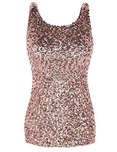 73f51eec3e44 PrettyGuide Women Shimmer Glam Sequin Embellished Sparkle Tank Top Vest Tops  S Gold Pink for $15.99 Free Shipping from Amazon PrettyGuide Store -  PromoPure